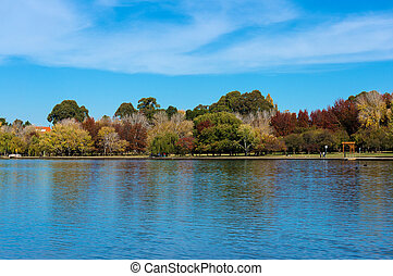Lake Burley Griffin with Bowen park in autumn. Canberra,...