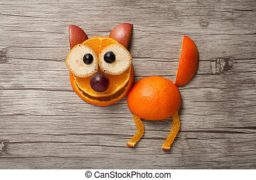 divertido, fruta, gato, hecho, en, de madera, tabla,