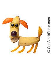 divertido, perro, hecho, de, plátano, y, naranja,