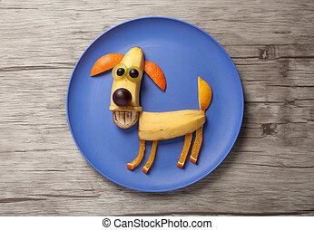 perro, hecho, de, plátano, en, placa, y, madera,