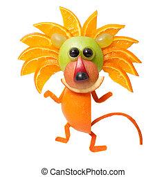 bailando, león, hecho, de, naranja, en, aislado,...