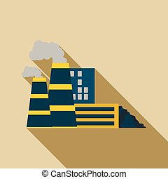 Mining processing plant icon, flat style - Mining processing...