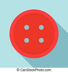 Red sewn button icon, flat style - Red sewn button icon in...