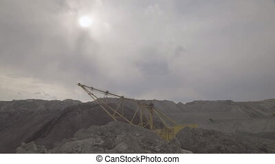 Working excavator dragline on open development of mineral...