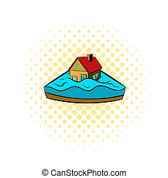 House sinking in a water icon, comics style - icon in comics...