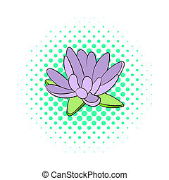 Lotus flower icon, comics style - Lotus flower icon in...