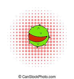 Chestnut icon, pop-art style - Chestnut icon in pop-art...