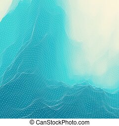 Water Surface Wavy Grid Background Mosaic 3d Vector...