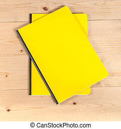 blank cover book on wood