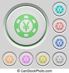 Yen casino chip push buttons - Set of color Yen casino chip...