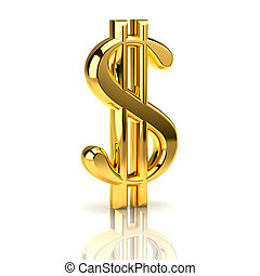 The dollar sign, symbolizing the financial activities, isolated on a white background