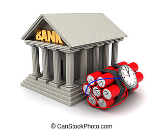 bank theft - 3d illustration of bank building and dynamite