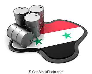 Syria oil - 3d illustration of oil barrels and Syria flag