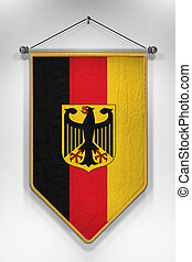 Germany Flag Pennant - Pennant with German flag. 3D...