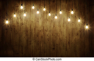 Light bulbs on wood - Light bulbs on dark wooden background