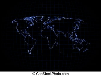World Map - Neon Outline