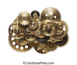 clockwork gear mechanism - Metal collage of clockwork gears...