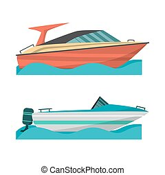 Set motor boat and small boat with outboard motor. Sea or river ship, flat cartoon illustration. Sea and river vehicles. Isolated on white background