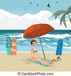 Woman dressed in green swimsuit is sitting on the beach under an umbrella. Vector flat design illustration. Sea landscape summer beach, surfboards stuck in the sand