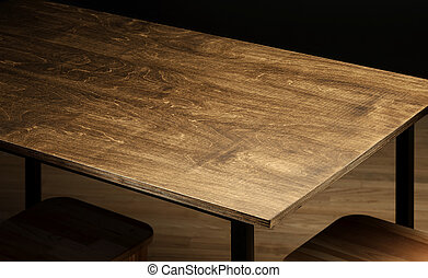 table top - Empty rough wooden table top in the dark room