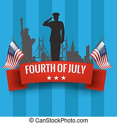 Fourth of July. Independence day background with usa flag -...
