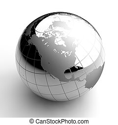Chrome Globe on white background - Metal chrome ball with...
