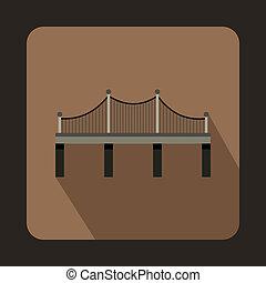 Iron bridge icon, flat style - Iron bridge icon in flat...