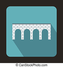 Brick bridge icon, flat style - Brick bridge icon in flat...