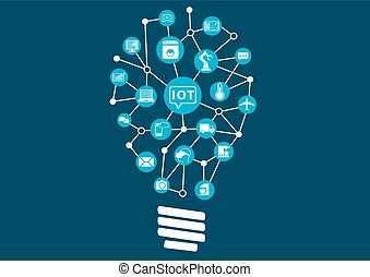 Disruptive IOT - Internet of everything (IoT) concept. Light...