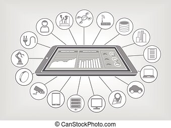 Big data and IOT flat vector - Flat vector illustration big...