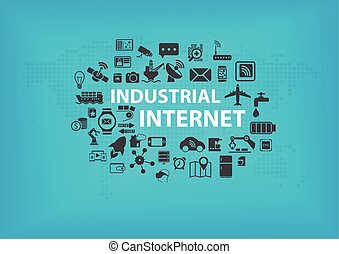 Industrial Internet (IOT) concept with world map and icons...