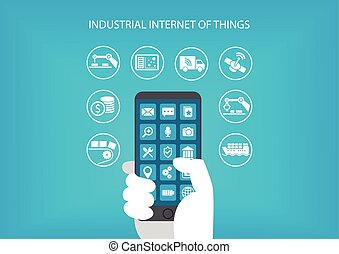 Industrial internet of things concept. Hand holding modern...