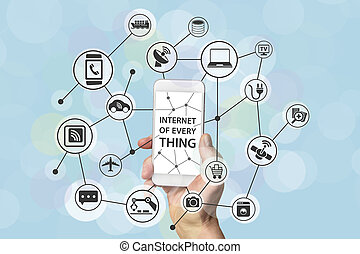 Smart phone and IOT - Internet of everything concept with...