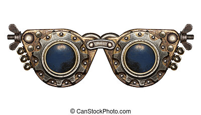Steampunk goggles. Metal collage.
