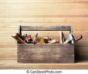 Woodwork - Wooden toolbox on the table