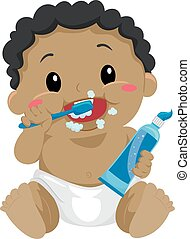 Black Baby brushing teeth - Vector Illustration of a Black...
