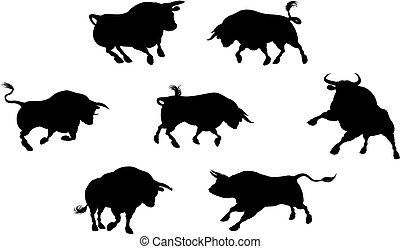 Detailed Bull Silhouettes - A series of bull cattle animal...