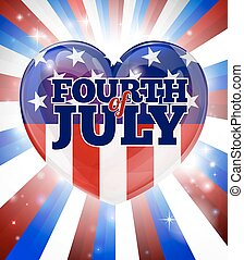 Fourth of July Independence Day Heart Design - A Fourth of...