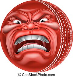 Angry Ball Cricket Sports Cartoon Mascot - An angry mean...