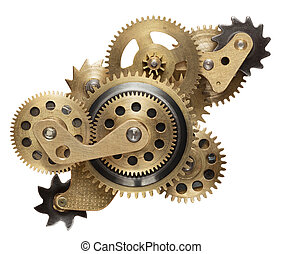 clockwork - Metal collage of clockwork gears isolated on...