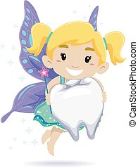 Kid as a Tooth Fairy - Vector Illustration of Kid as a Tooth...