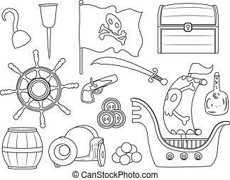 Outlined Pirate Elements