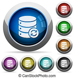 Syncronize database button set - Set of round glossy...