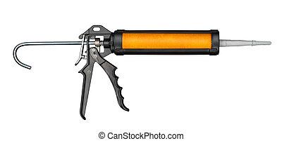 Silicone gun - Silicone or glue gun, isolated on white