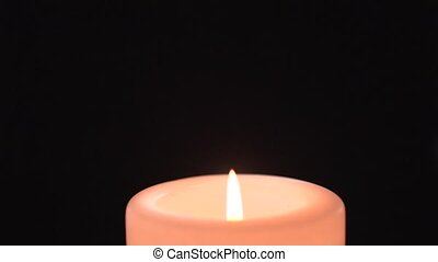 Flame of a candle with wind - clip