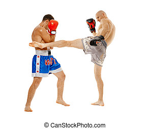 Kickboxers sparring on white background - Two kickbox...