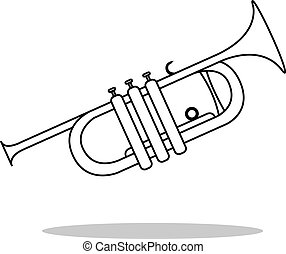 Simple icon Trumpet Vector musical instrument silhouette -...