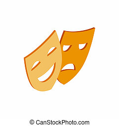 Comedy and tragedy theatrical masks icon in isometric 3d...