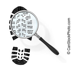 Concept of secure information. Magnifier over boot print in...