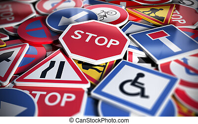 Road or Traffic Signs - Perspetive view of numerous french...